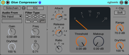 An image of Ableton's Glue Compressor with the Sidechain module expanded.