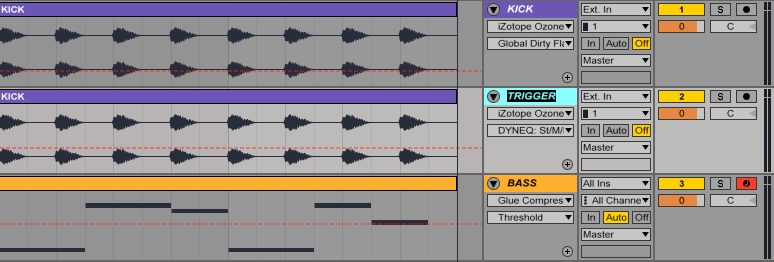 An image of a trigger track in Ableton.