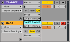 "An image of track output device set to ""3/4-FF Pro-MB"" in Ableton."