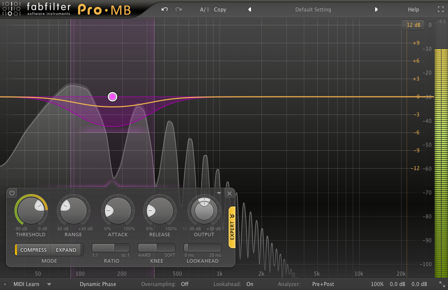 An image of a single band applying slight gain reduction in FabFilter's Pro-MB plugin.