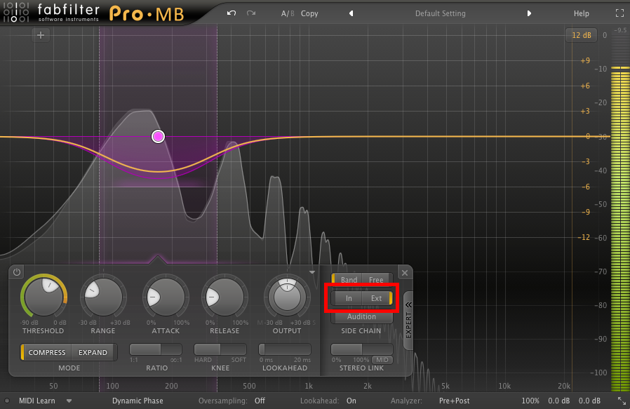"An image of ""Ext"" mode enabled in FabFilter's Pro-MB."