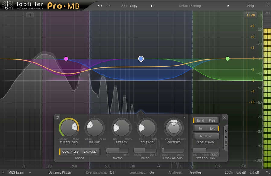 An image of 3 bands with various compression and input settings in FabFilter's Pro-MB.
