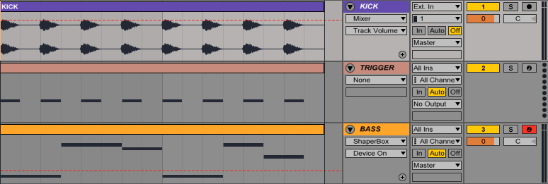 An image of a MIDI trigger track with each note playing C1 in Ableton.