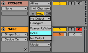 "An image of a trigger track's output set to ""Bass"" in Ableton."