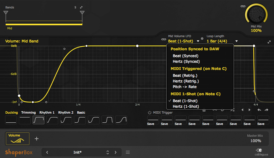 "An image of a ducking preset loaded in VolumeShaper and LFO mode set to ""Beat (1-shot)."""