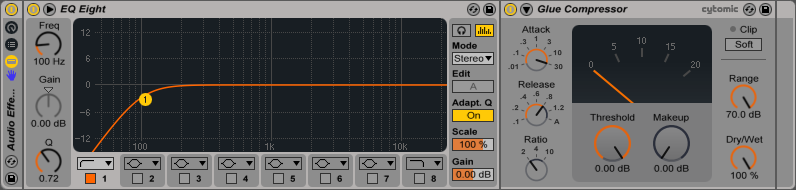 An image of an Audio Effect Rack's Device View in Ableton.
