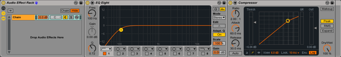 An image of an Audio Effect Rack's Chain List in Ableton.