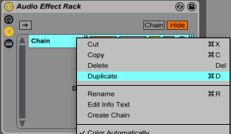 An image of how to duplicate a chain in an Audio Effect Rack within Ableton.