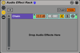 An image of an Audio Effect Rack's Input/Output Meters.