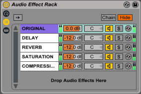 An image of return track made from chains in Ableton.