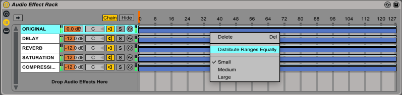 An image of how to Distribute Ranges Equally in Ableton's Audio Effect Rack.
