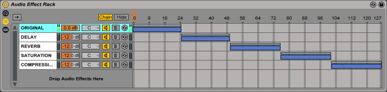 An image of evenly distributed ranges in Ableton's Audio Effect Rack.