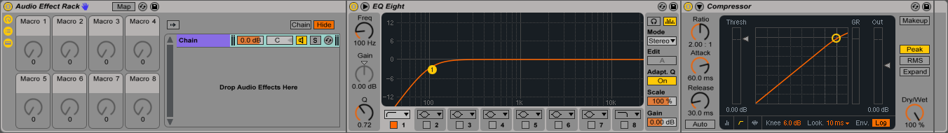 An image of the Macro Control Panel in an Audio Effect Rack in Ableton.