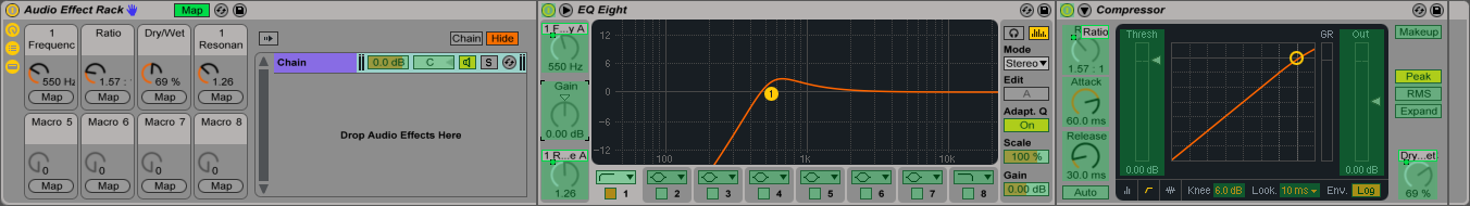 An image of Macro Map Mode engaged in Ableton Live.