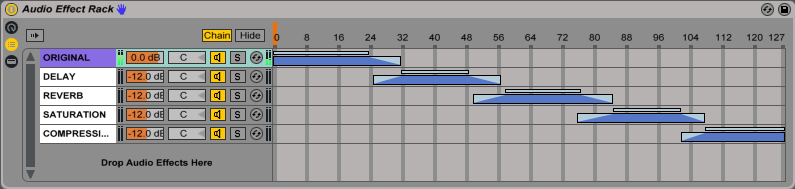 An image of fade ranges modified within Ableton's Audio Effect Rack.