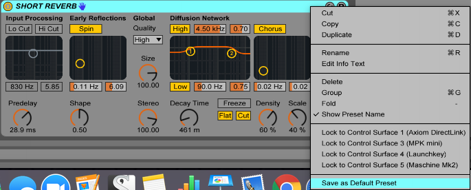 An image of how to save a default device preset in Ableton Live.