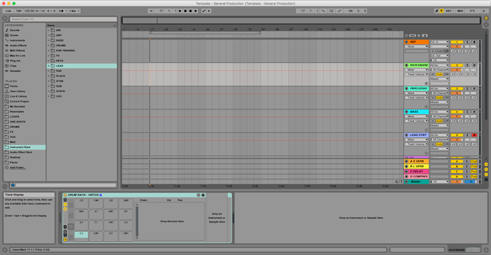 An image of Black Ghost Audio's music production Ableton template.