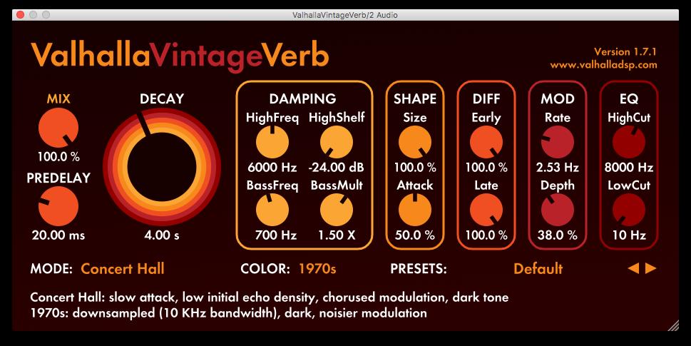 An image of Valhalla's VintageVerb reverb plugin.