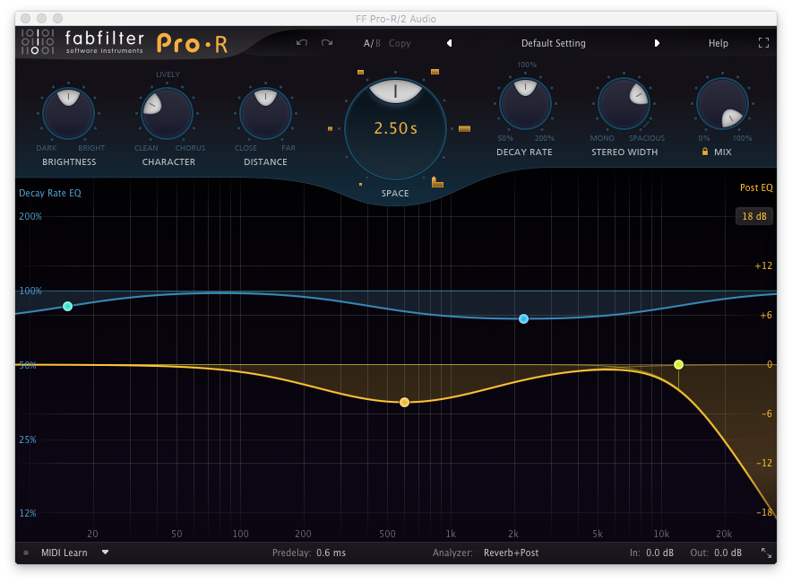 An image of FabFilter's Pro-R reverb plugin.