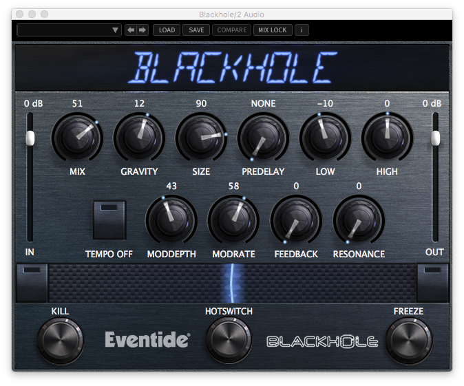 An image of Eventide's Blackhole reverb plugin.