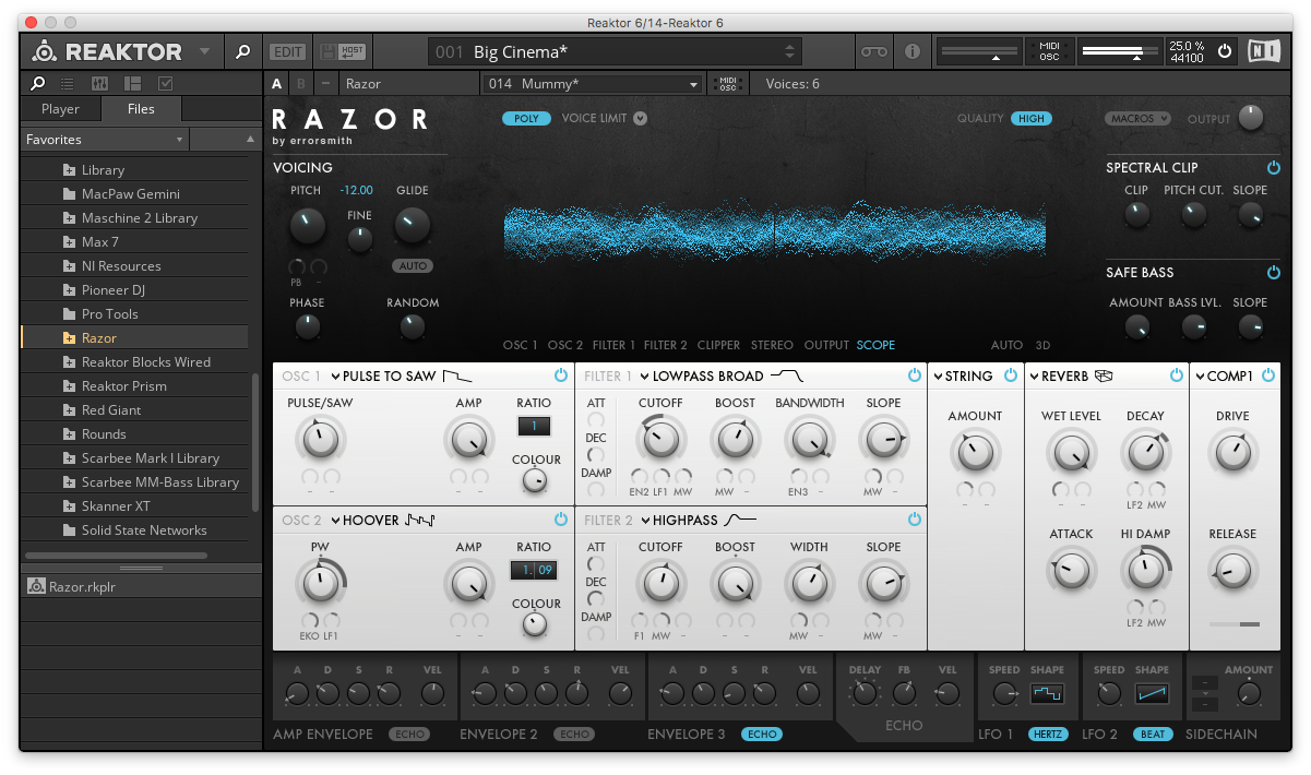 An image of Native Instruments' Reaktor synthesizer plugin.
