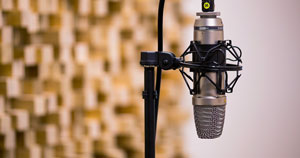 A microphone on a mic stand with acoustic treatment in the background.