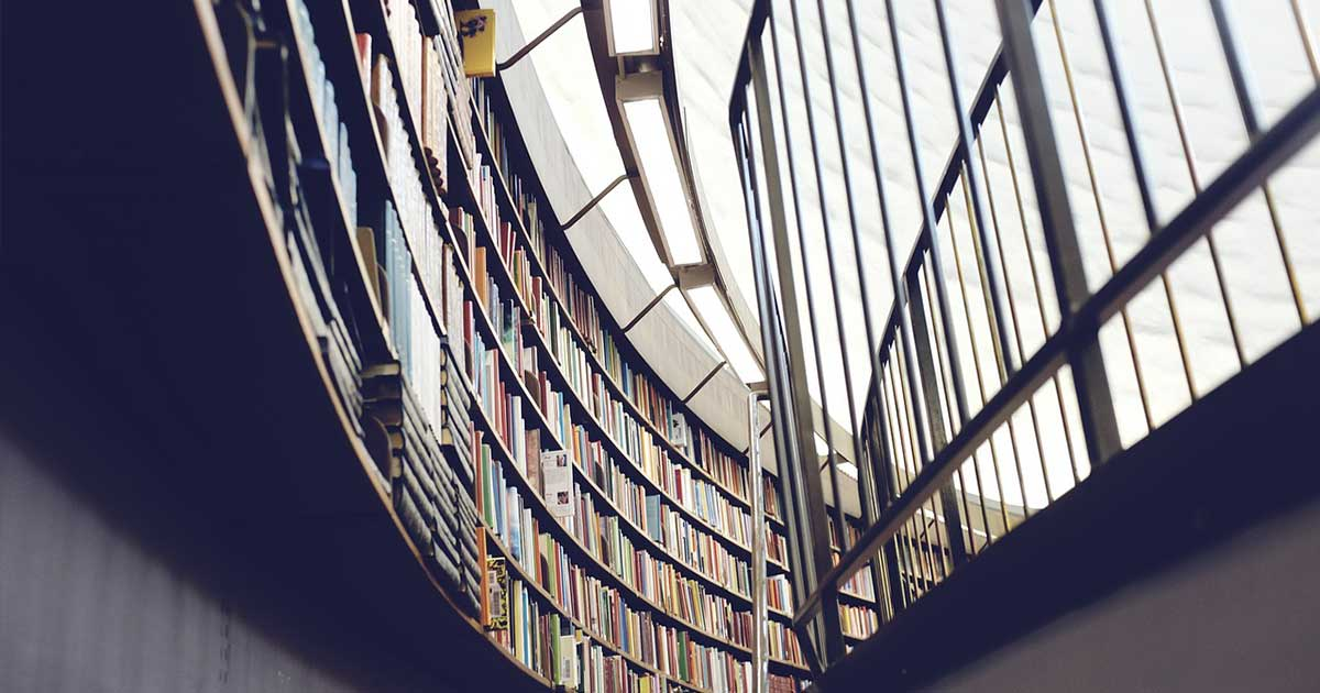 A building interior containing books.