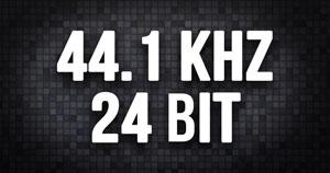 "White text that says ""44.1 kHz 24 Bit."""
