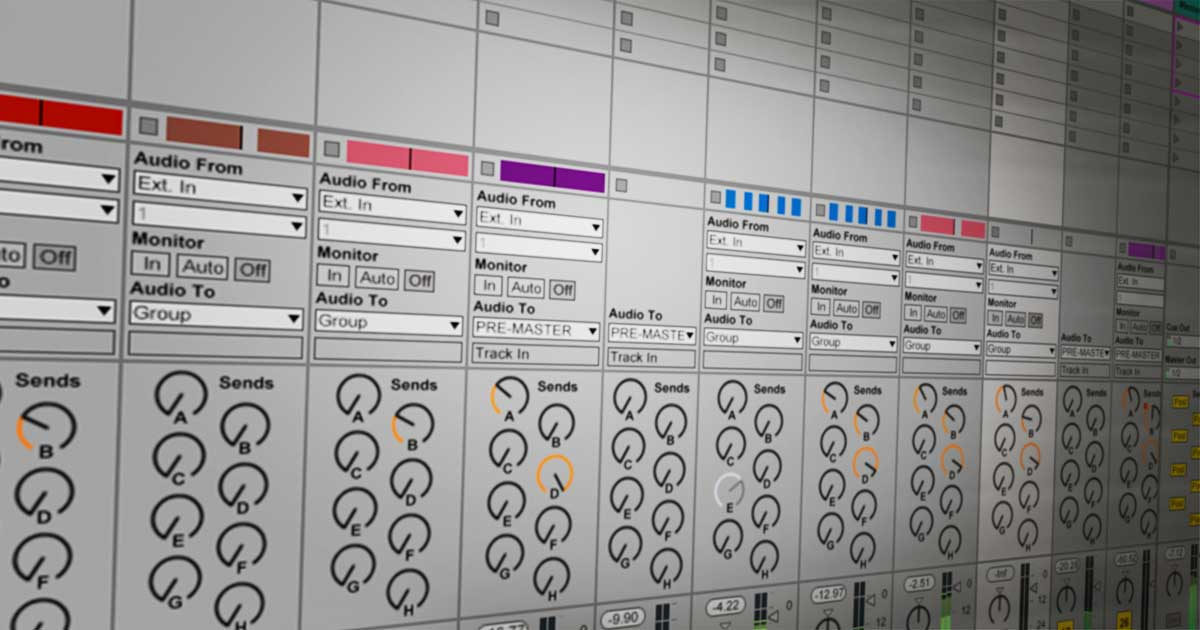 Multiple tracks displayed within Ableton.