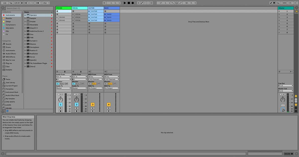 An image of Ableton Live's Session View.