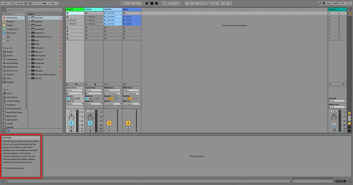 An image of Ableton Live's Info View.