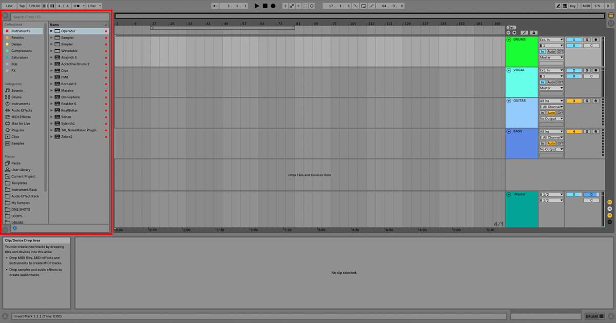 An image of Ableton Live's Browser.