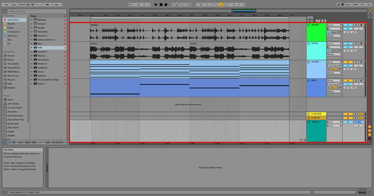 An image of audio tracks, MIDI tracks, return tracks, and the master channel in Ableton Live.