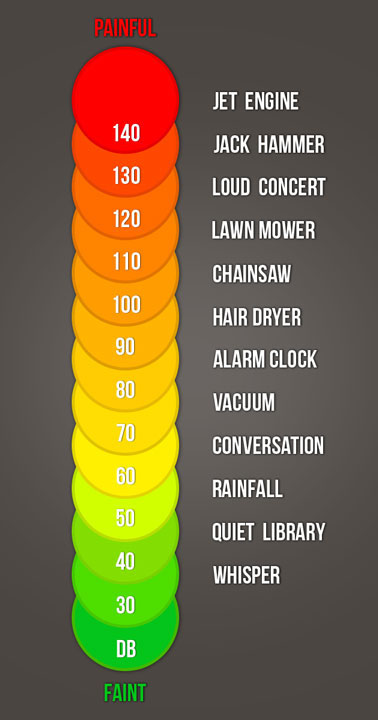 A picture of a decibel scale with examples of sounds at different decibel levels.