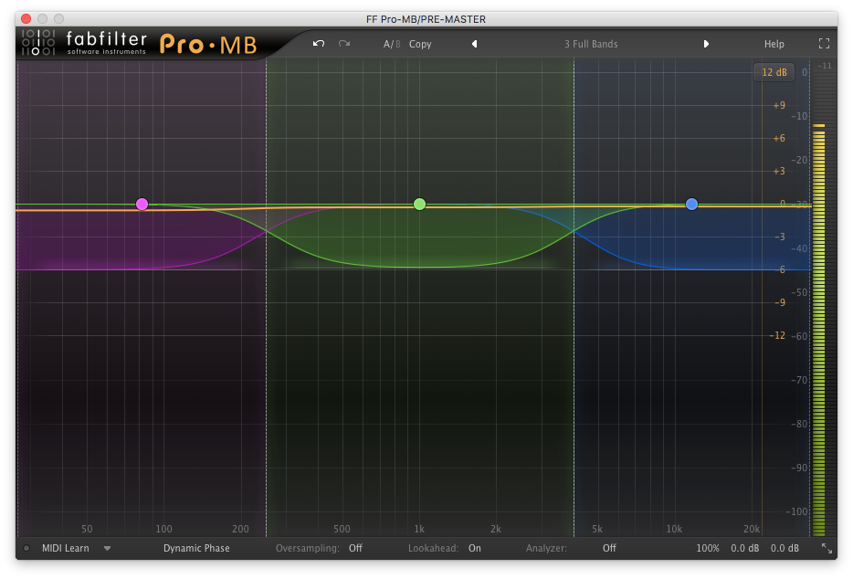 A picture of FabFilter's Pro-MB multiband compressor plugin.
