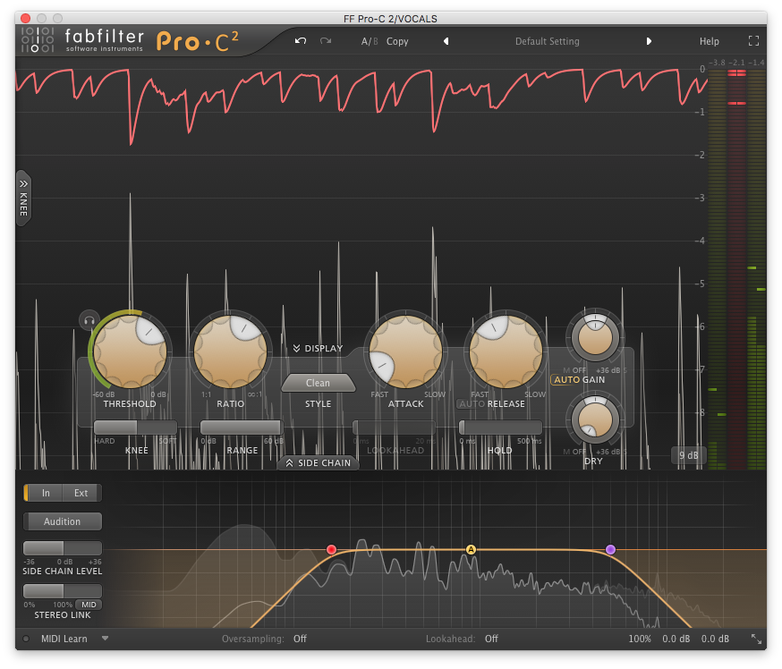 A picture of FabFilter's Pro-C2 plugin.