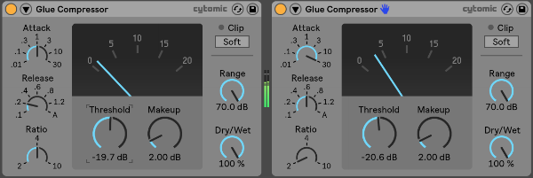 A picture of two of Ableton's Glue Compressors in serial with one another.