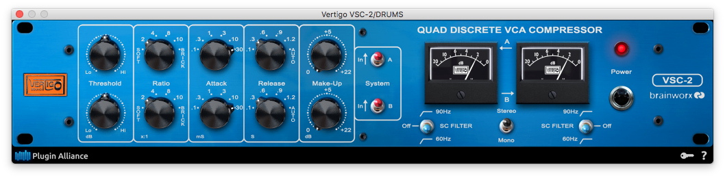 A picture of Vertigo's VSC-2 compressor plugin.