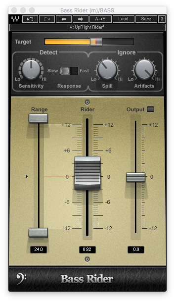 A picture of Waves' Bass Rider plugin.