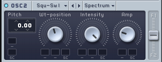 "An image of ""Amplitude"" turned up, and ""Wt-position"" balanced in Native Instruments' Massive."