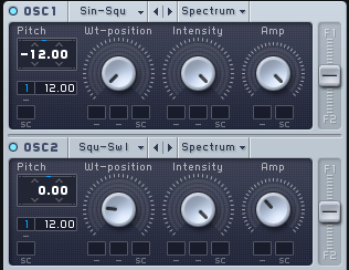 An image of the pitch of Oscillator  and 2 automated to increase semitones in Native Instruments' Massive.