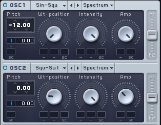 An image of Envelope 1 applied o the pitch control of Oscillator 1 and 2 in Native Instruments' Massive.
