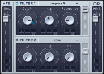 An image of automation applied to the cutoff knob of filter 1 in Native Instruments' Massive.