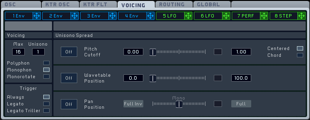 An image of the Voicing section in Native Instruments' Massive.