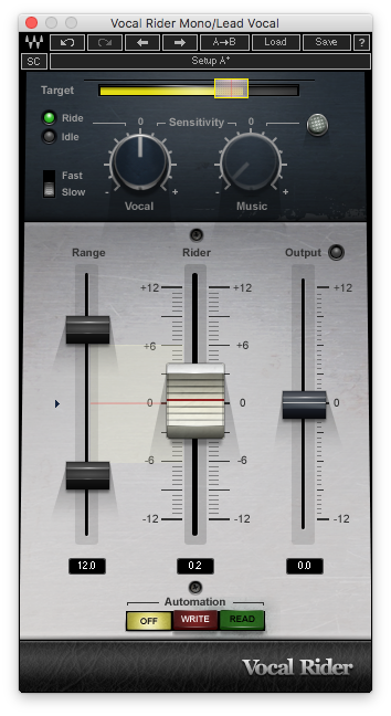 An image of Waves' Vocal Rider plugin.