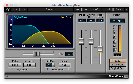 An image of Waves' MaxxBass plugin.