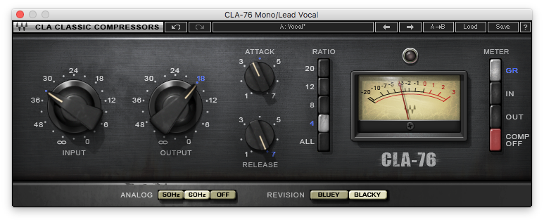 An image of Waves CLA-76 Compressor / Limiter plugin.