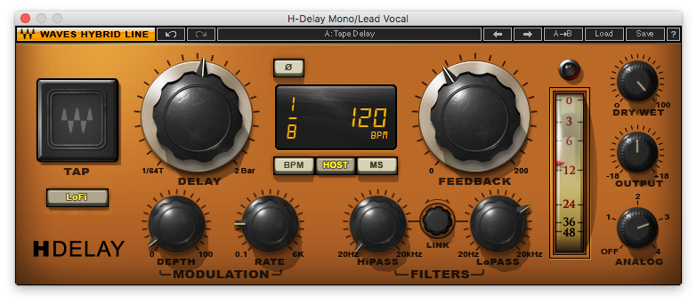 An image of Waves' H-Delay plugin.