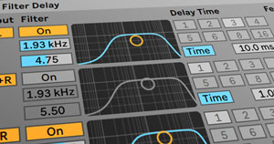 Ableton's Filter Delay audio effect.
