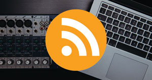 An RSS icon in front of a MacBook and an audio mixer.